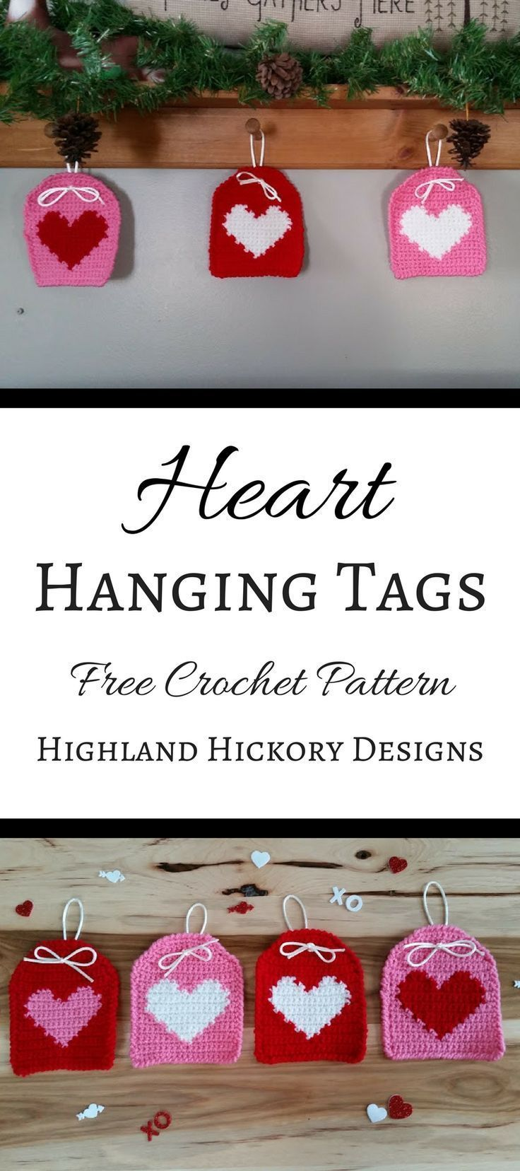 Hanging tags #CrochetValentines | crochet patterns | Pinterest | Mimos