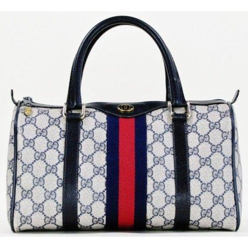 00f26aab3f Gucci Blue Monogram Vintage Web Boston Bag | Handbags at Mosh Posh ...