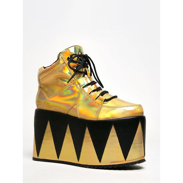 QOZMOPOLITAN SNEAKER ($75) ❤ liked on Polyvore featuring shoes, sneakers, gold, metallic sneakers, lace up shoes, spiked sneakers, metallic gold shoes and rose gold shoes