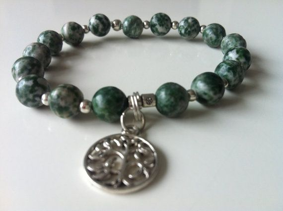 Green morganite gemstone bracelet  with tree of door KennlyDesign