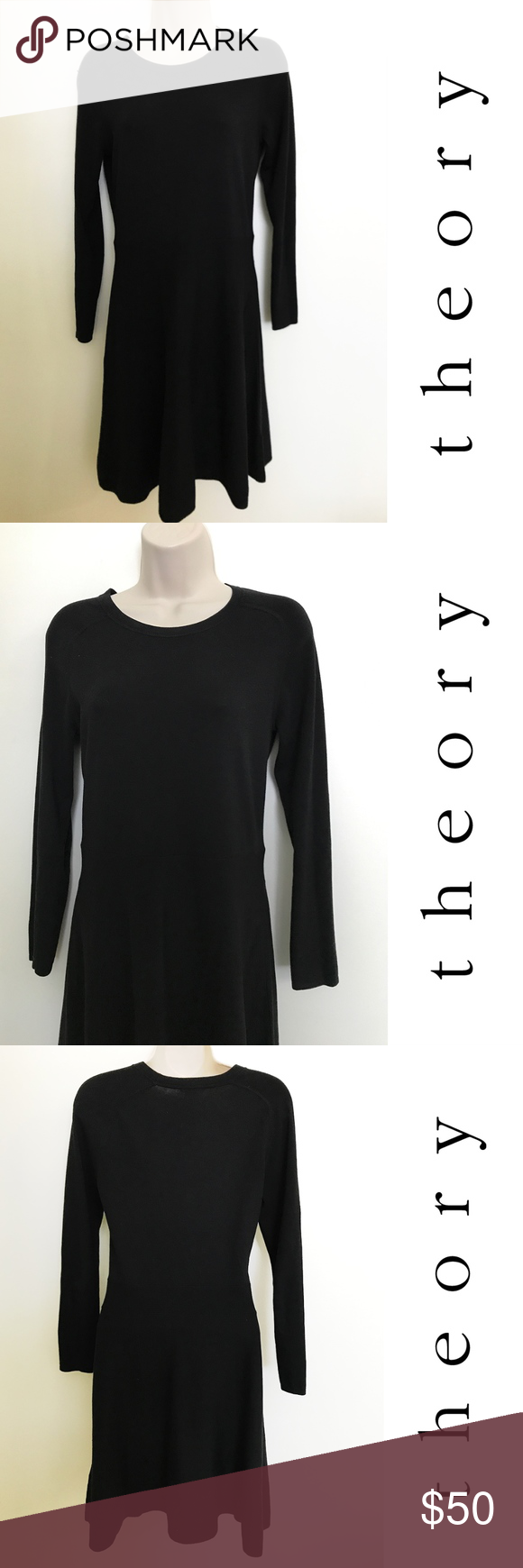 Firmtheory long sleeve little black dress medium so chic silk