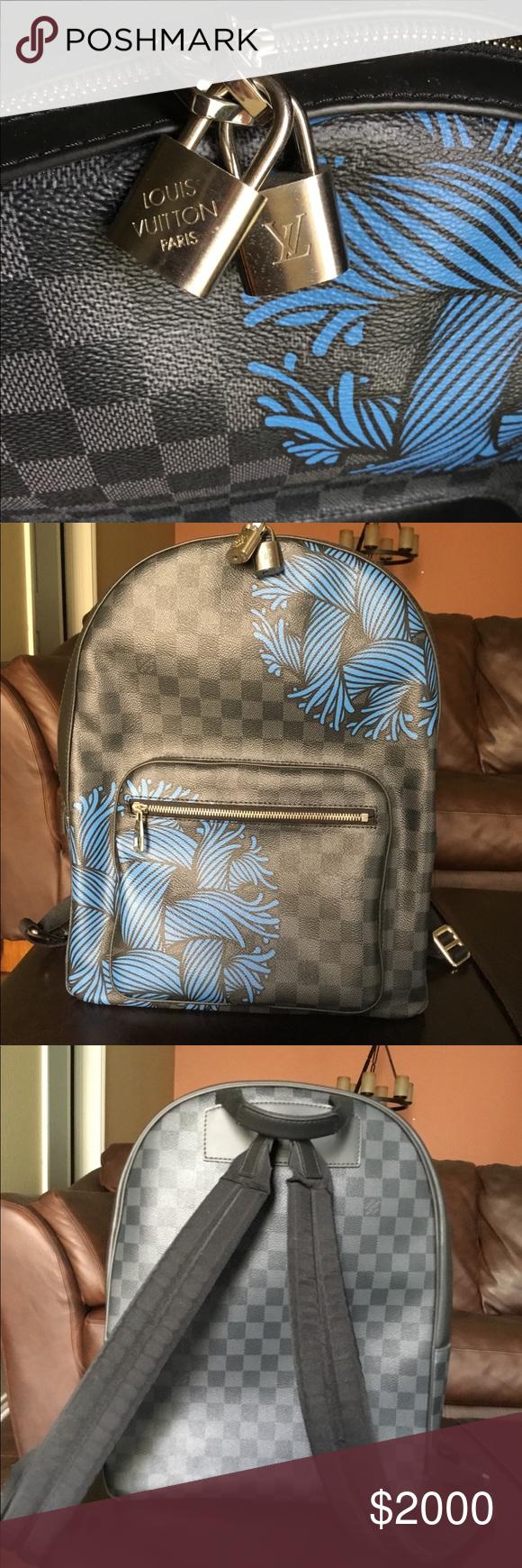Louis Vuitton Men s Backpack Josh Damier Christopher Nemeth Rope Graphite  Black Blue Like new Carried twice Louis Vuitton Bags Backpacks ab275eaa3cf81