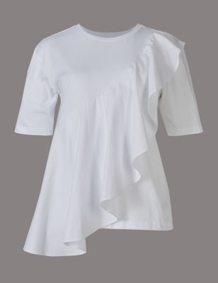 Womens Ruffle Top Jersey Frill Short Sleeve Plus Size Cheap Summer TShirt Blouse