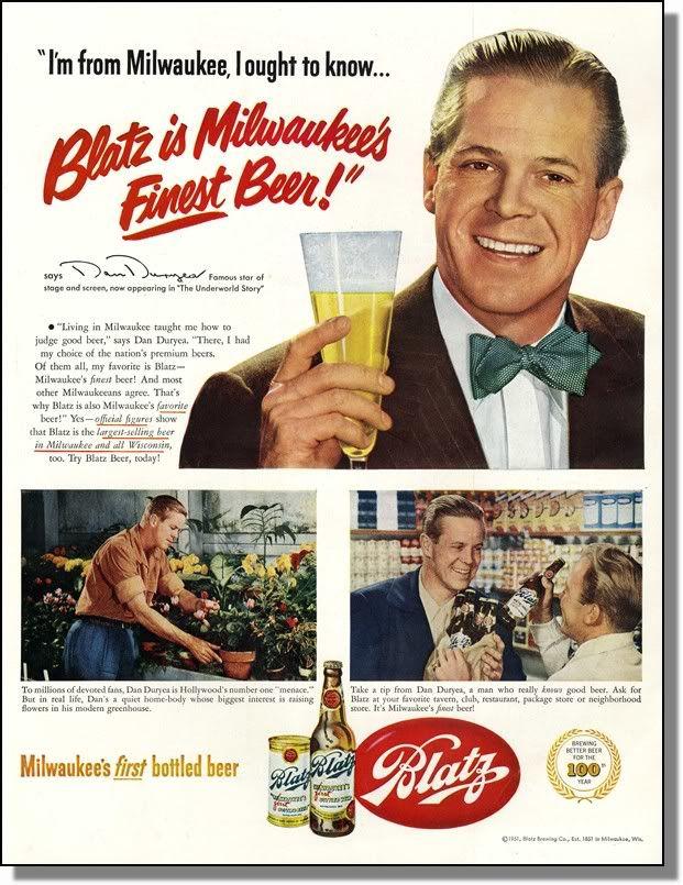 Hollywood and Beer Vintage Blatz Beer Ads Beer ad