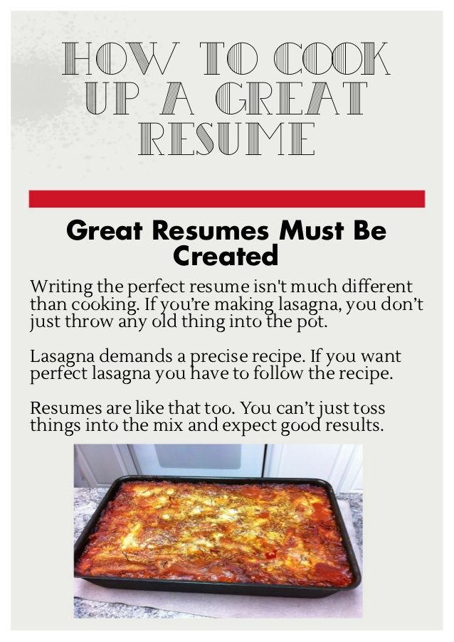 How to cook up a great resume by Inferno Publishing Company via - cook resume
