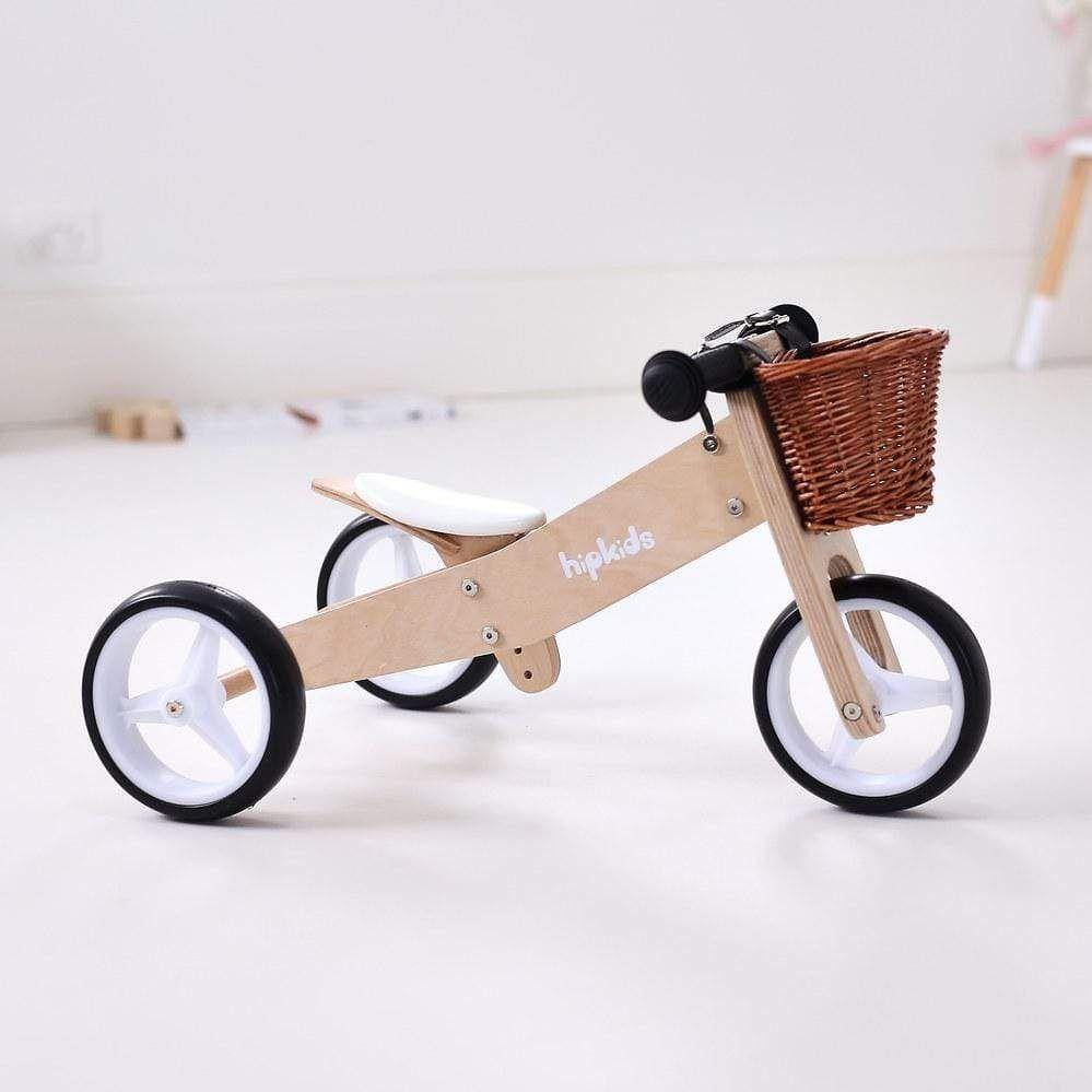 2 In 1 Toddler Mini Trike W Wicker Basket Wooden Baby Toys Kids Wooden Toys Wicker Baskets