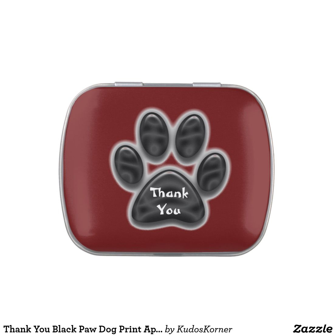 Thank You Black Paw Dog Print Appreciation Candy Tin Zazzle Com Dog Print Candy Tins Paw