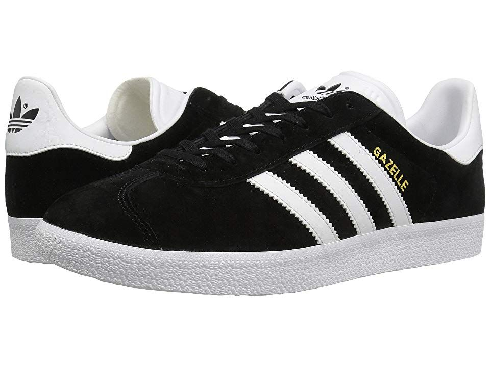 adidas Originals Gazelle Foundation Core BlackWhiteGold Metallic Mens Tennis Shoes This decadesold classic brings it back with a 90s vibe for ultimate simplicity and styl...