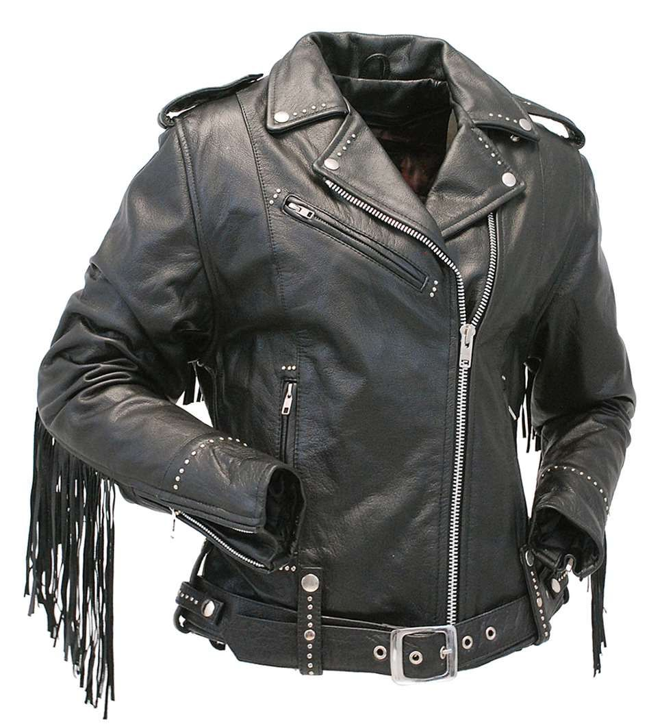Ladies Stud & Fringe Leather Jacket #L9028ZSFK | Fringe
