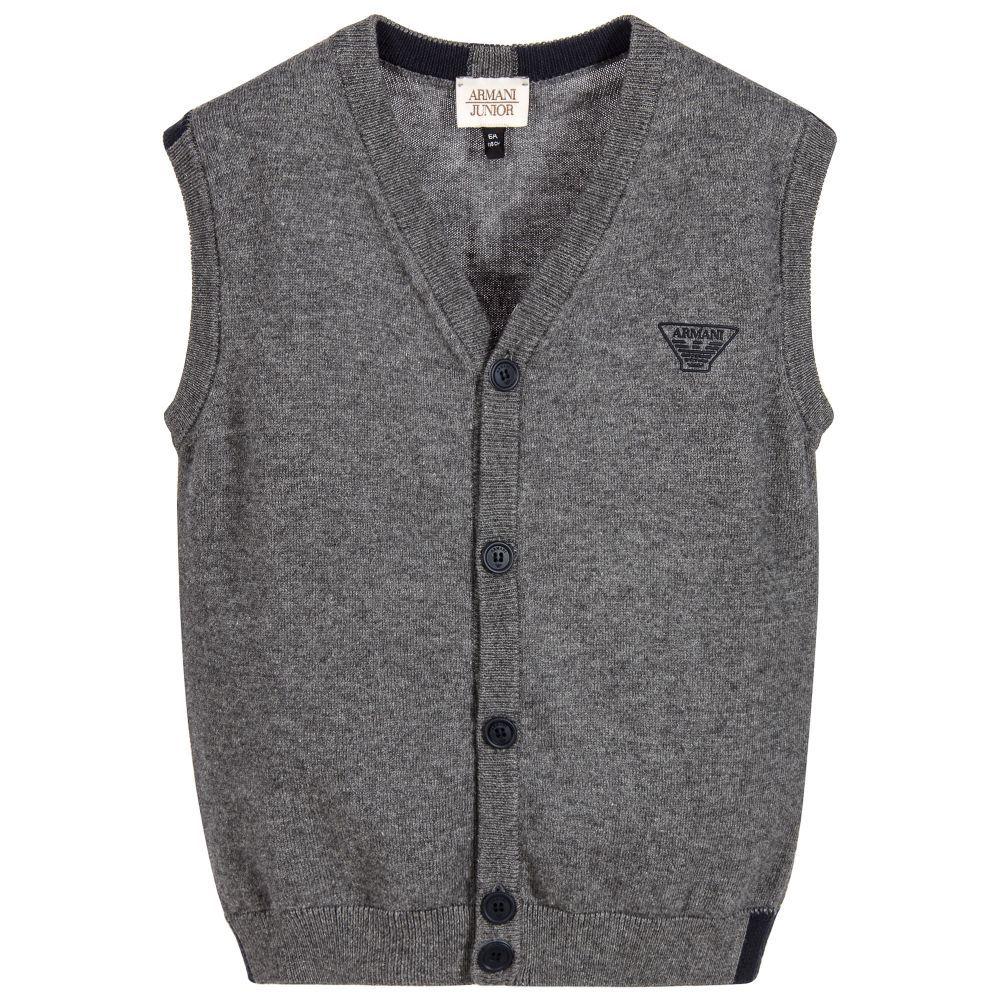 5d21576e668b Armani Junior - Boys Grey Knitted Waistcoat