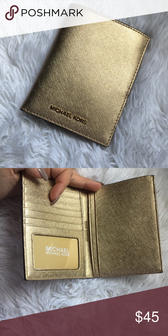 fce6fd172b41 MICHAEL KORS Jet Set passport holder MICHAEL MICHAEL KORS Jet Set Travel  Metallic Saffiano Leather Passport Wallet Style# 32H5MTVT3M Michael Kors  Bags ...