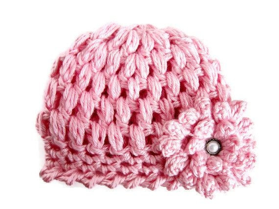 Baby Girl Hat in Pink with Flower and Faux Pearl Button