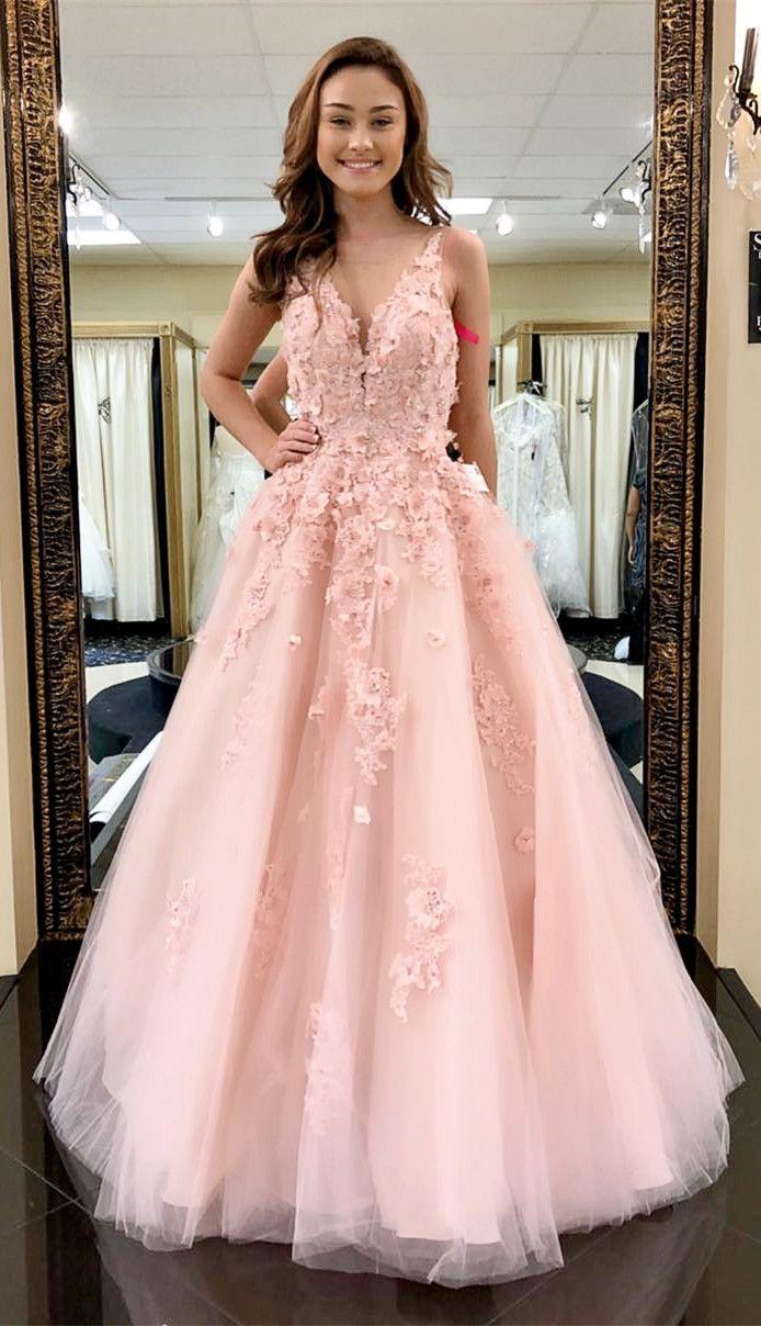 princess pink long prom dress, 2018 prom dress, gorgeous prom dress ...