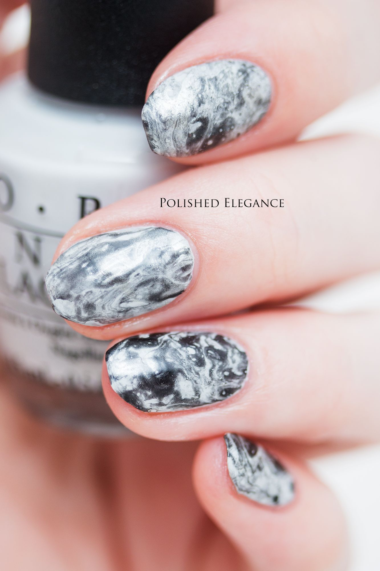 Marble nail art manicure marble nails | Polished Elegance nail art ...