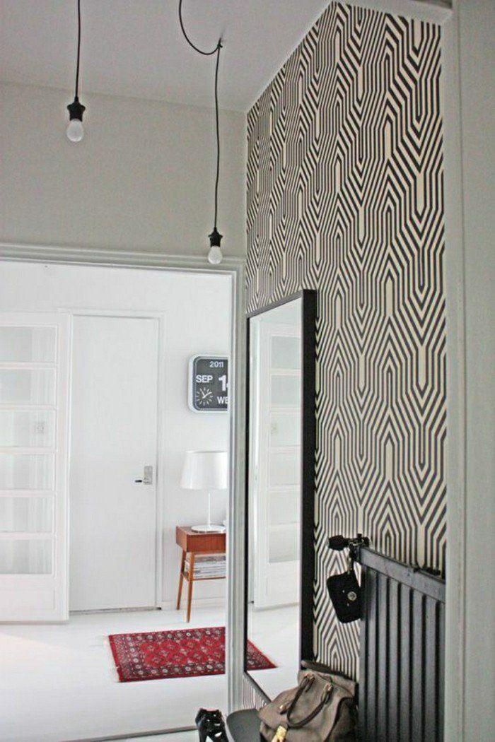 idee deco couloir avec papier peint pour couloir blanc noir