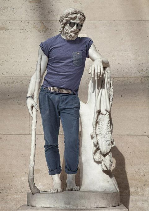 """This series asks the question """"What is the importance of clothing in our modern society?"""" How you dress is who you are. When you dress statues, suddenly no longer are they simply reclining figures from the distant past, they now look to be figures from modern and hip cities of today. Because"""