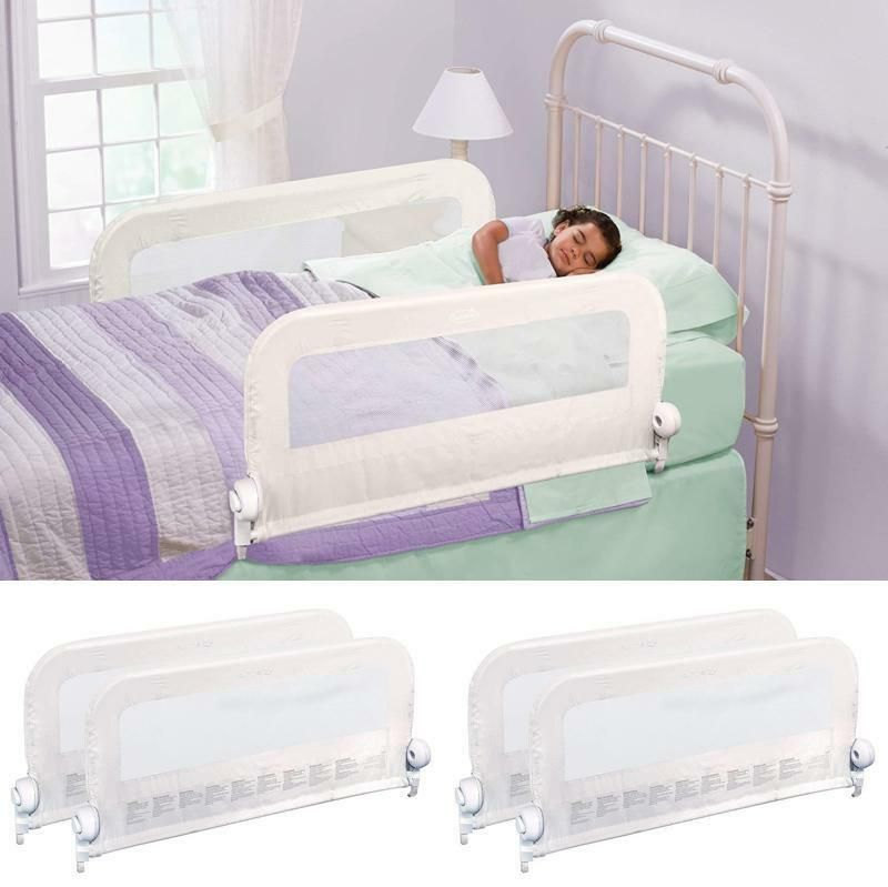 Kids bed guard double rail fold protection barrier toddler