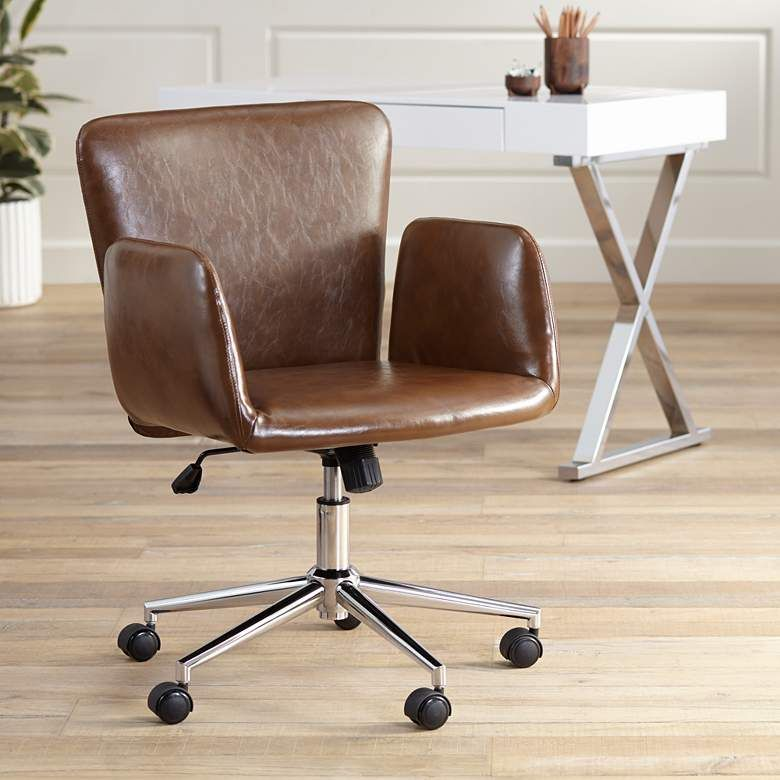Megan Brown Faux Leather Swivel Office Chair 63k82 Lamps Plus In 2020 Swivel Office Chair Contemporary Office Chairs Brown Leather Office Chair