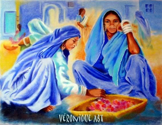 pintura mujer árabe -