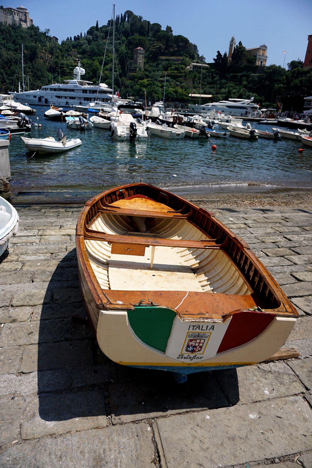 Row boat in marina in Portofino