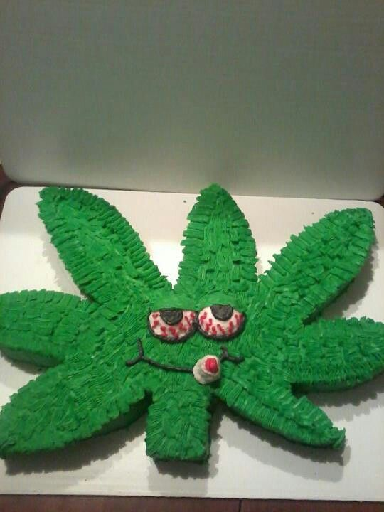 Marijuana Leaf Birthday Cake I Made Cookies Pinterest