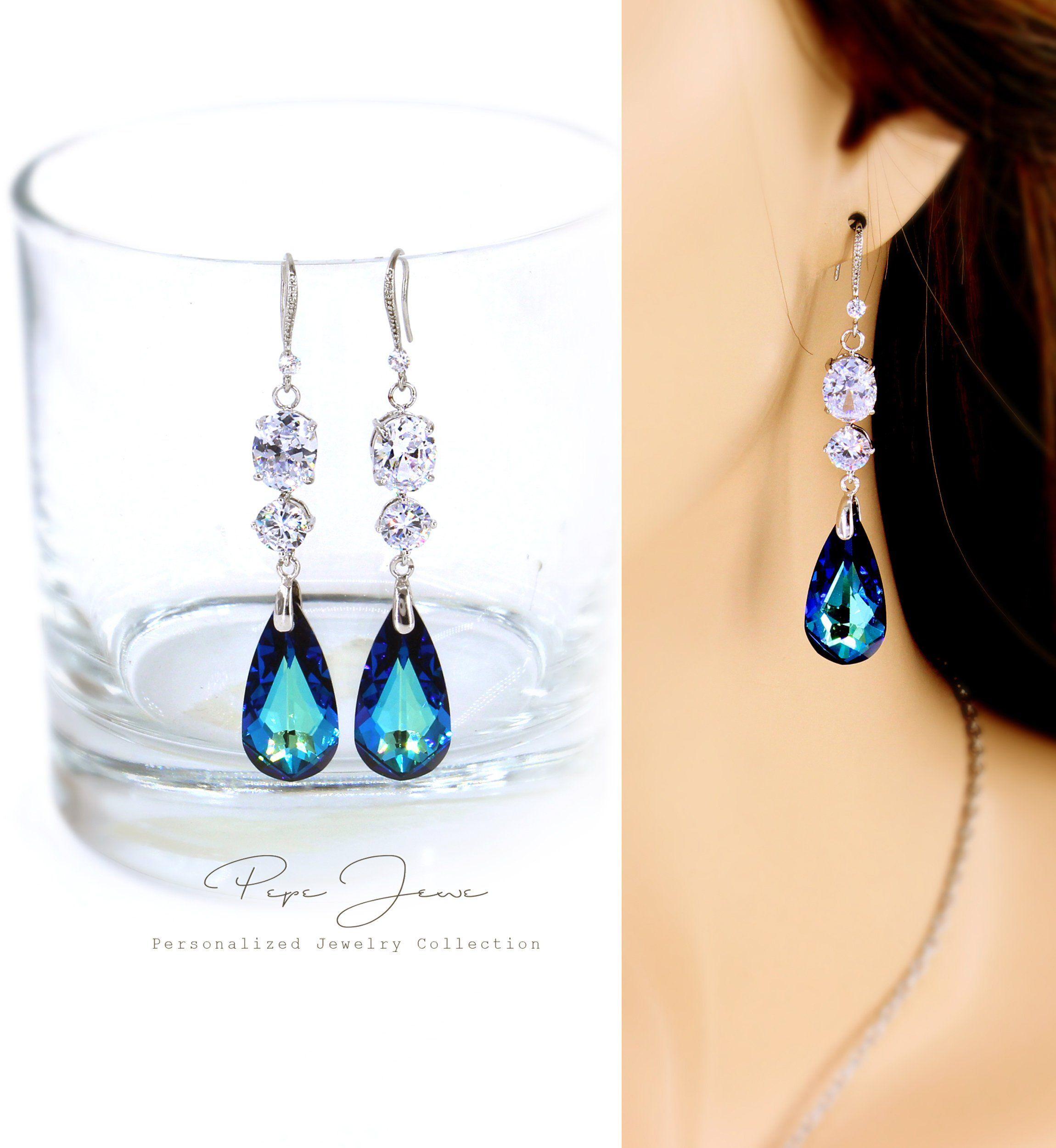 Wedding Earrings Navy blue Zirconia Earrings Bridesmaid Earrings Gift Crystal Bridal Earrings Wedding Accessory Teardrop Earrings Bao