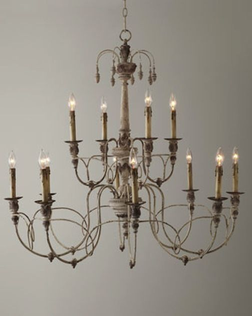 Horchow 12 light aidan gray look vintage french beaded steel chandelier large lighting ideashome