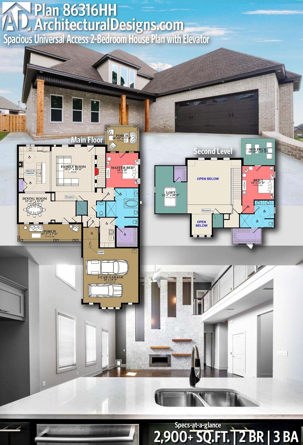 Plan 86316hh Spacious Universal Access 2 Bedroom House Plan With Elevator House Plans Bedroom House Plans Home Design Floor Plans
