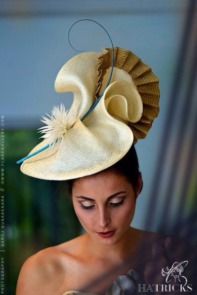Cream and gold millinery   BY MICHELLE ROBINSON #millinery #hats #HatAcademy