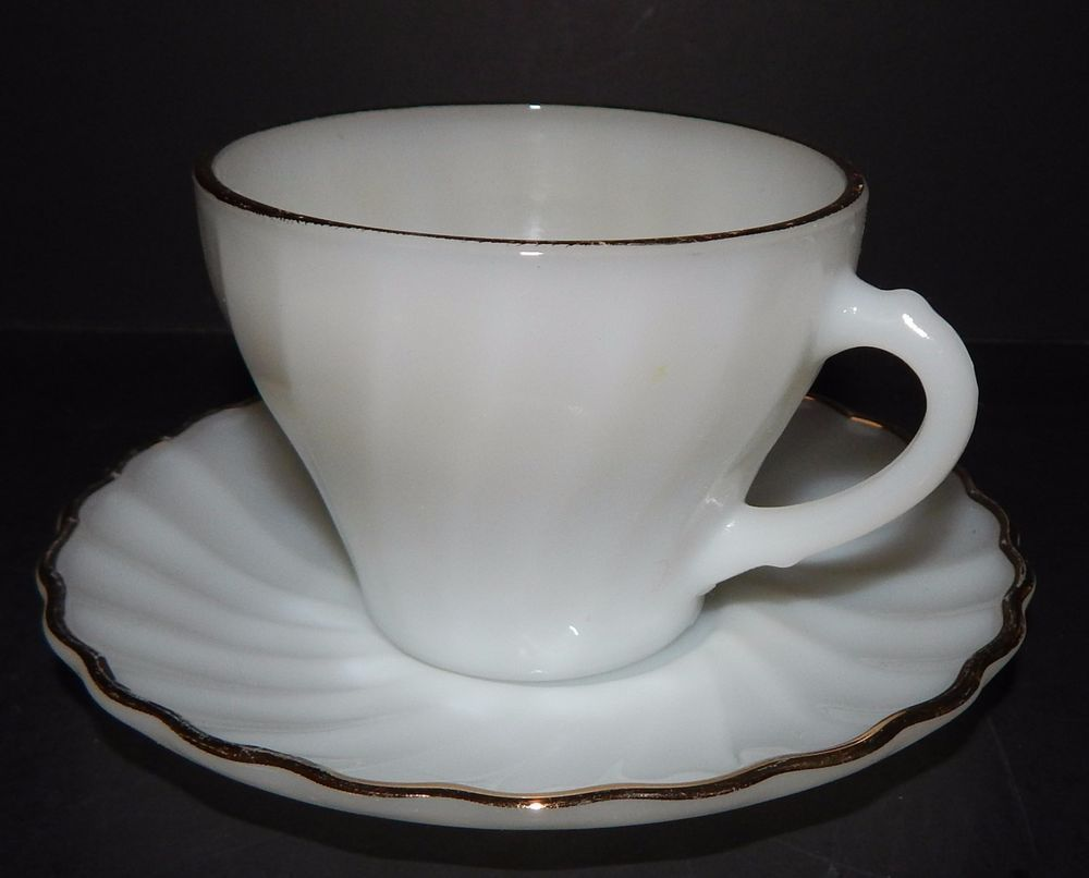 Fire King Dinnerware CUP and SAUCER Anchor Hocking Milk Glass Swirl Gold Trim & Fire King Dinnerware CUP and SAUCER Anchor Hocking Milk Glass Swirl ...