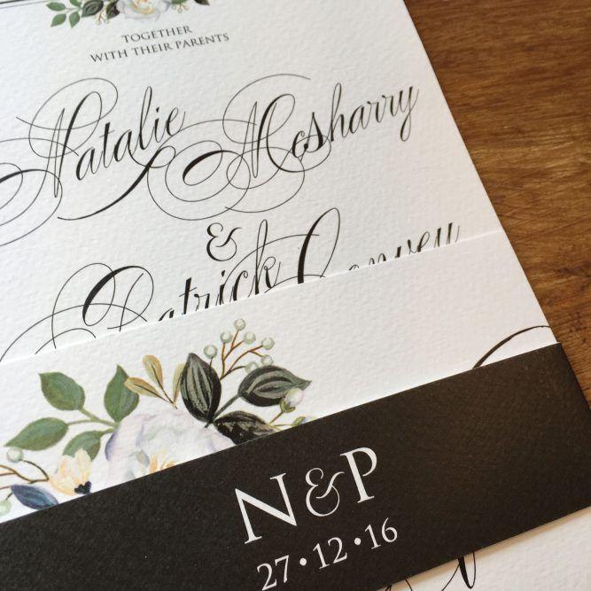 Elegant sophistcated wedding stationery set held together with - best of wedding invitation design fonts
