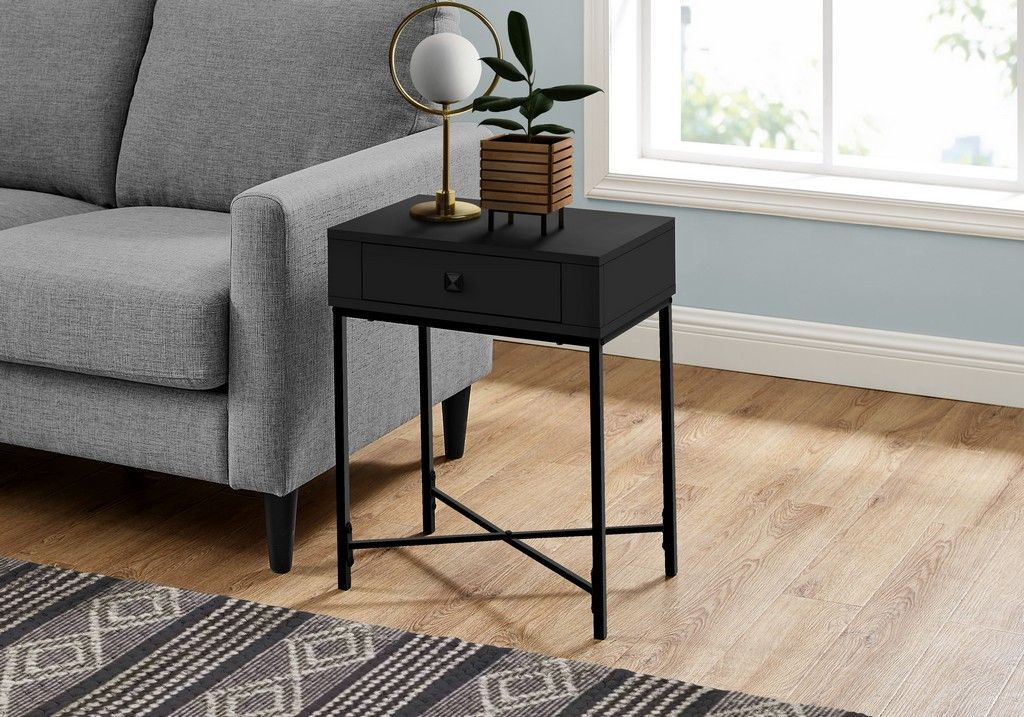 Accent Table In Black And Black Metal 22 H Monarch Specialties I 3542 Black Side Table Living Room Black Side Table Black End Tables