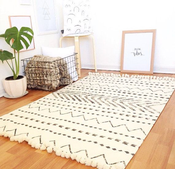 Tribe Scandinavian Rug Area Carpet Floor Rugs Modern White Minimalist Moroccan Black And