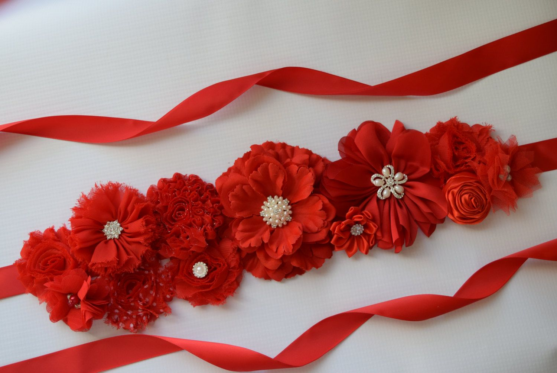Christmas Sash valentine sash red  flower Belt Red Sash maternity sash red flower belt