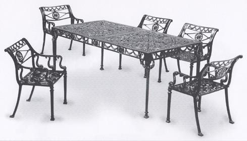 Garden And Patio Furniture Cast Aluminum Dolphin 7 Piece Dining Set These