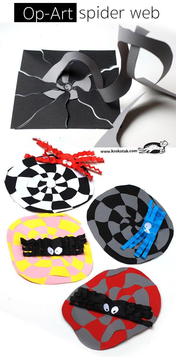 Op art spider web craft halloween pinterest activit - Activite manuelle elementaire ...