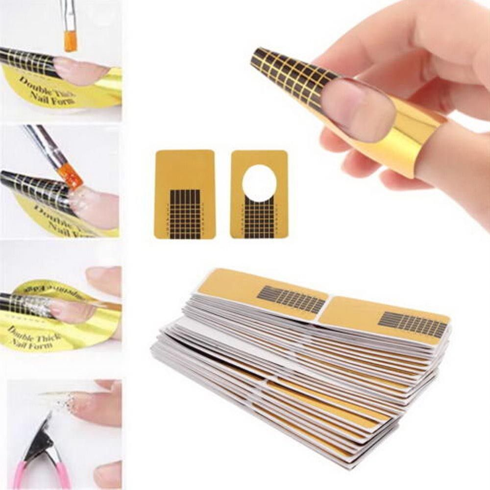 Focallure 100Pcs Professional Nail Forms Acrylic Curve Nail ...