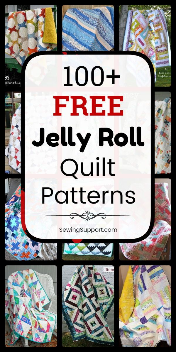 100+ Free Jelly Roll Quilt Patterns & Tutorials #jellyrollquilts