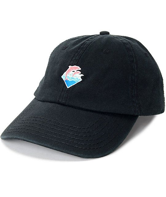The Waves black dad hat from Pink Dolphin is trendy and casual with a  classic baseball style silhouette finished with a logo graphic embroidered  on the ... f09990e0cf00