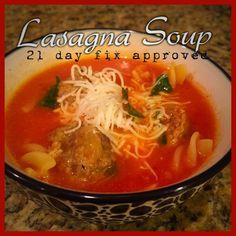 Lasagna Soup! (Makes two servings - each serving has 1 red, 2 yellow, 1 green, and 1 blue) Notes: I make the meatballs and pasta in advance, then make the broth. To make it easy to measure portions...