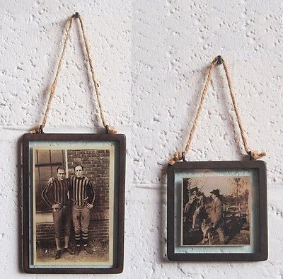 Industrial Style Hanging Photo Picture Frame, Metal Glass  by Sass & Belle