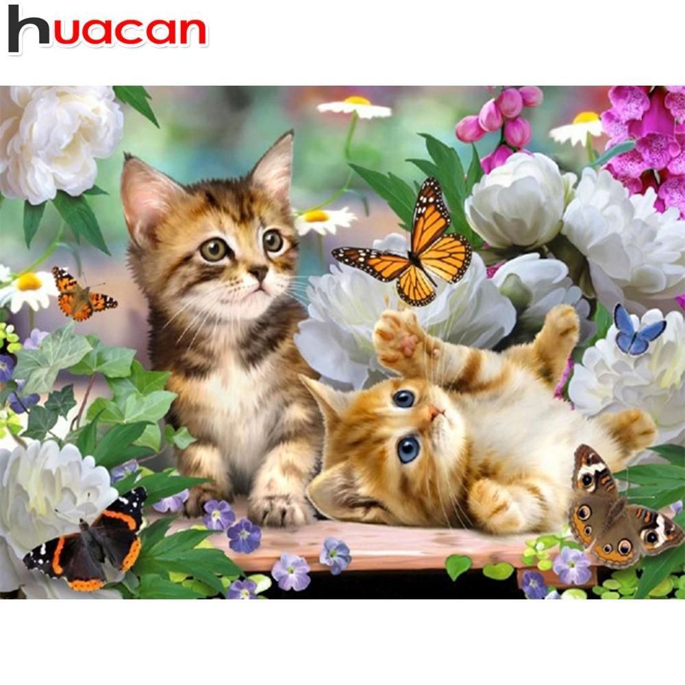 Kittens Playing With Butterflies Diamond Painting Kit Dazzlecrafter Kittens Playing Mosaic Animals Animals