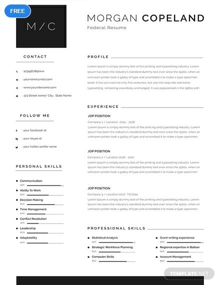free federal resume