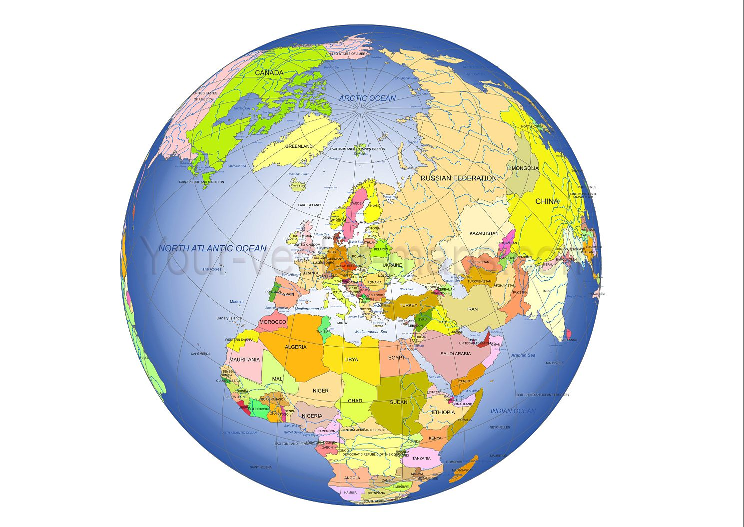 europe centered globe colored vector artwork country names