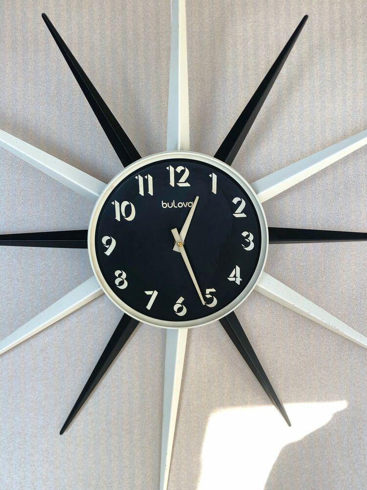 Vintage Mid Century Modern Bulova Starburst Black White Wall Clock Bulova White Wall Clocks Wall Clock Clock