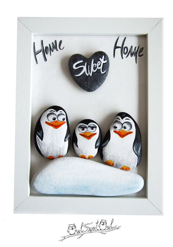 Unique Handmade 3-D Painting with Family Penguins An