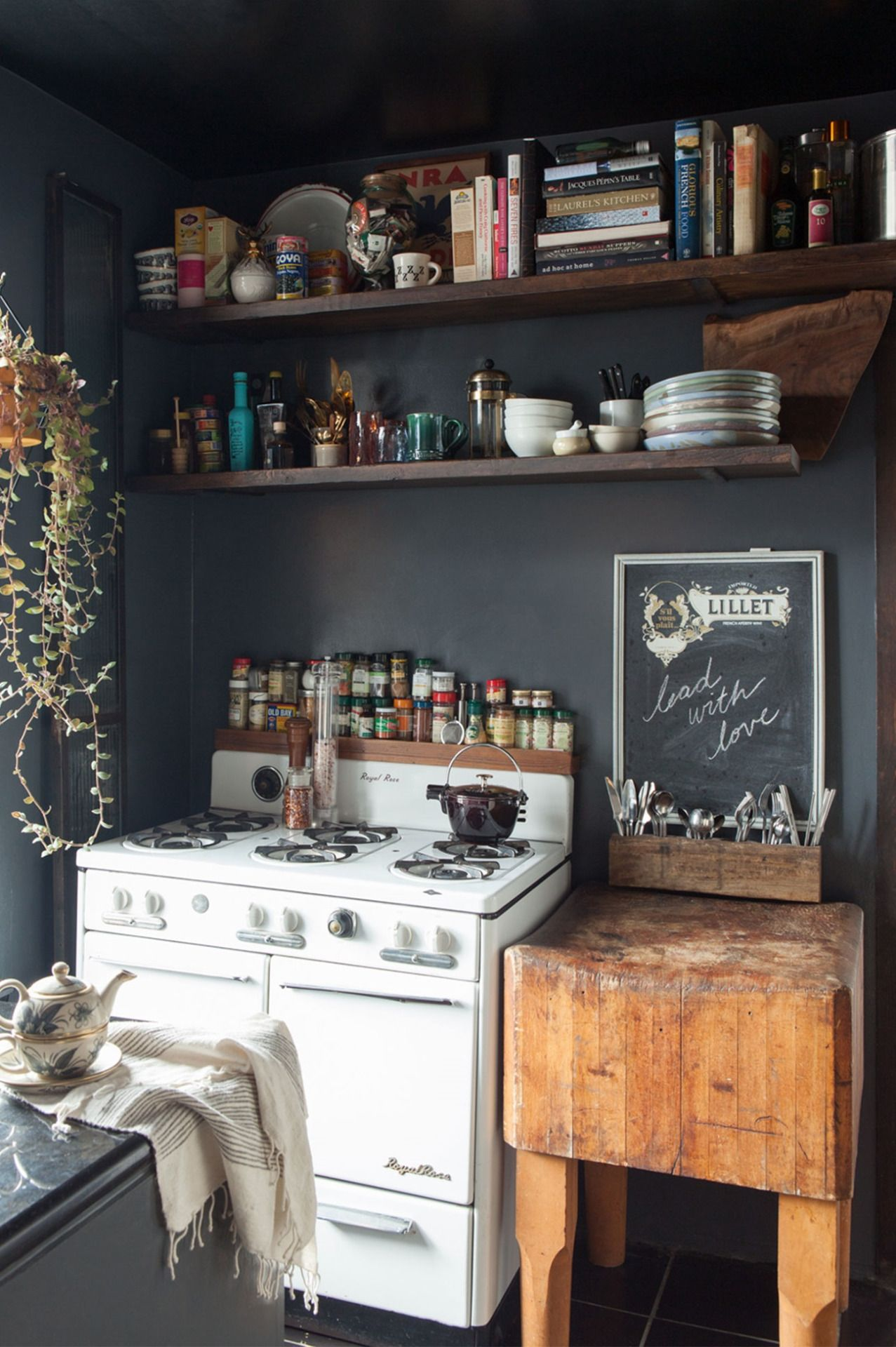 black and white rustic kitchen with boho and vintage style