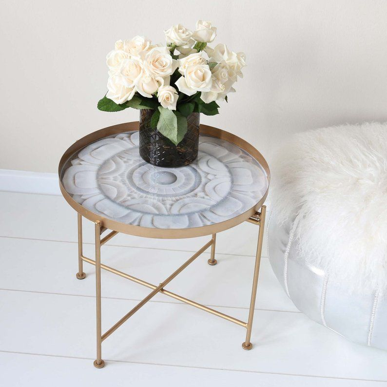 The Round Moroccan Side Table Is The Ideal Side Table For Small Apartments The Golden Table Is Very Light And Foldable Side Table Tea Table Moroccan Table