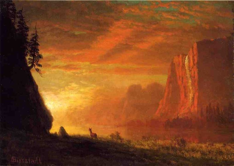 Sunset Paintings By Famous Artists Albert Bierstadt Paintings Albert Bierstadt Landscape Canvas Art