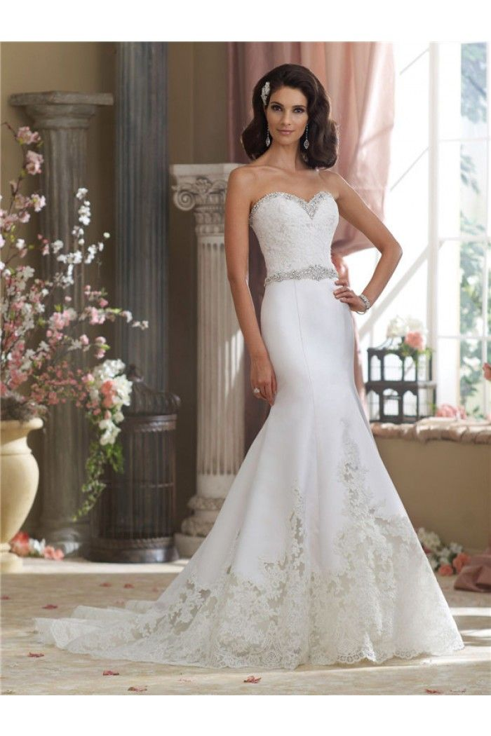 Gorgeous Mermaid Sweetheart Cut Out Satin Lace Crystal Wedding ...
